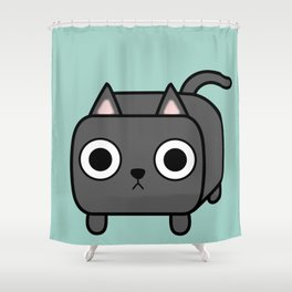 Cat Loaf - Grey Kitty Shower Curtain