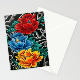 Japanese tattoo style Peonies  Stationery Cards