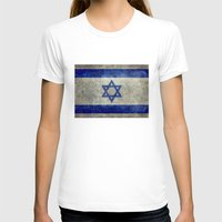 palestine T-shirts featuring The National flag of the State of Israel - Distressed worn version by Bruce Stanfield
