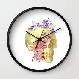 Floral Skull Anatomy  Wall Clock