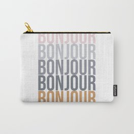 Bonjour in Bold Typography and Fall Colors Carry-All Pouch