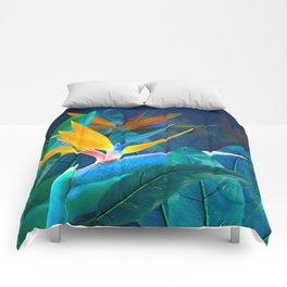 Bird of Paradise Under a Hawaiian Moon Comforters