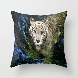 White Tiger In Blue Water Throw Pillow