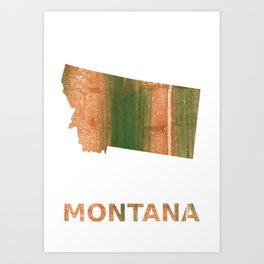 Montana map outline Peru green streaked wash drawing Art Print