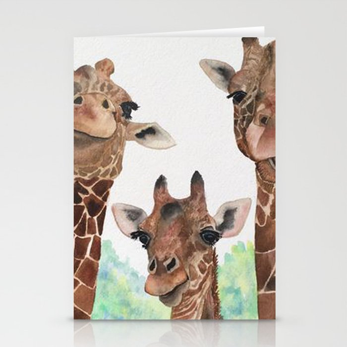 Giraffe's Family Portrait by Maureen Donovan Stationery Cards