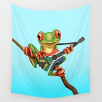 south africa Wall Tapestries featuring Tree Frog Playing Acoustic Guitar with Flag of South Africa by Jeff Bartels