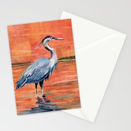 Great Blue Heron in Marsh Stationery Cards