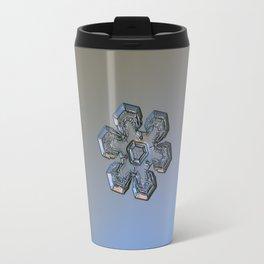Real snowflake macro photo - Massive silver Travel Mug