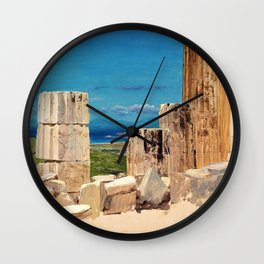 Frederic Edwin Church - Broken Columns, View From The Parthenon, Athens - Digital Remastered Edition Wall Clock