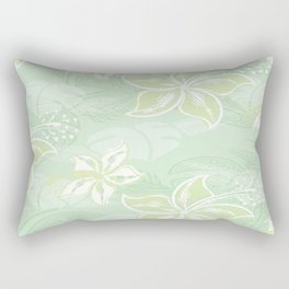 Green Watercolor Hibiscus Jungle Print Rectangular Pillow