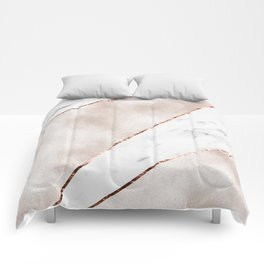 Spliced rose gold marble Comforters