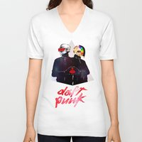 daft punk V-neck T-shirts featuring Daft Punk by omurizer