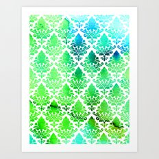 Damask in Bright Seaweed Art Print