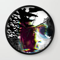 hunter s thompson Wall Clocks featuring Hunter S by theCword