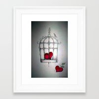 cage Framed Art Prints featuring cage by Maria Sciarnamei
