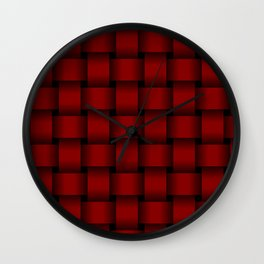 Large Dark Red Weave Wall Clock
