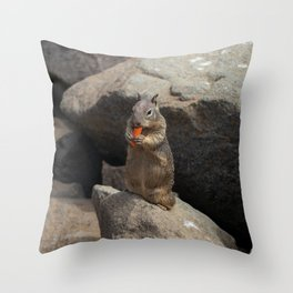 Squirrel Eating a Carrot Throw Pillow