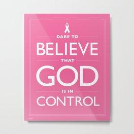 Breast Cancer Awareness Hot Pink Dare Print Metal Print