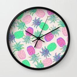 Pineapple Pandemonium Pink Punch Wall Clock