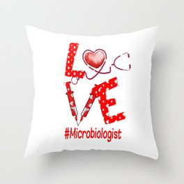 LOVE Microbiologist apparel nurse gifts for women Throw Pillow