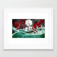 kraken Framed Art Prints featuring Kraken by Beth Naeyaert