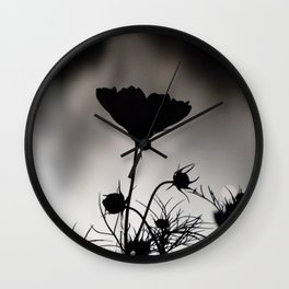 Flower in black and white Wall Clock