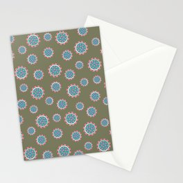 Virus Print Olive Green Stationery Cards