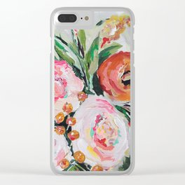 Boho pink and orange floral bouquet Clear iPhone Case