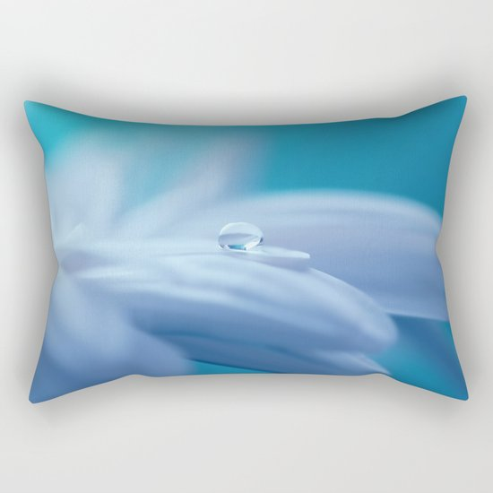 Lonely droplet on a daisy in blue  on #Society6 Rectangular Pillow