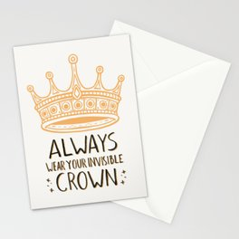 Always Wear Your Invisible Crown Quote - Orange Stationery Cards