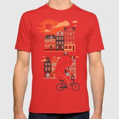 Happy Ghost Biking Through Amsterdam Mens Fitted Tee LARGE Red