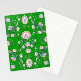 Folk Flowers in Green and Pink Stationery Cards