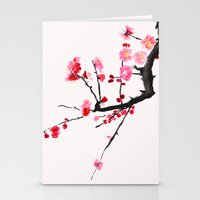 Stationery Cards featuring red plum flower red background  by Color and Color