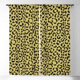 Trendy Black on Faux Gold Leopard Print Pattern Blackout Curtain