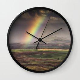 Rainbow over the Palouse Wall Clock
