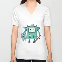 bmo V-neck T-shirts featuring BMO MECH by suprsunshine