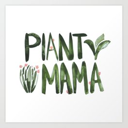 Plant Mama with Pink Flowers Art Print