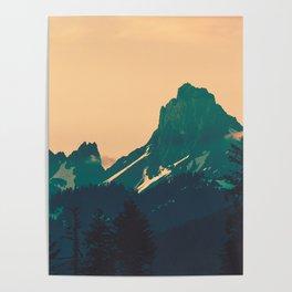 Cascade Mountains Sunset Poster