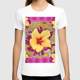 Decorative Golden Yellow Red Tropical Hibiscus Patterns T-shirt