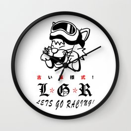 Lets Go Racing! Old Car Style design. Wall Clock