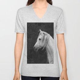 Arabian horse in black and white Unisex V-Neck