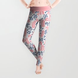 Wistful Floral - Coral and blue Leggings