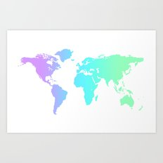 Ocean Gradient World Map Art Print