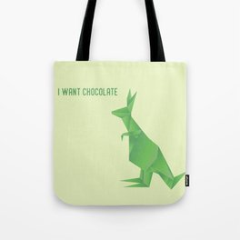 I Want Chocolate - Origami Green Kangaroo Tote Bag