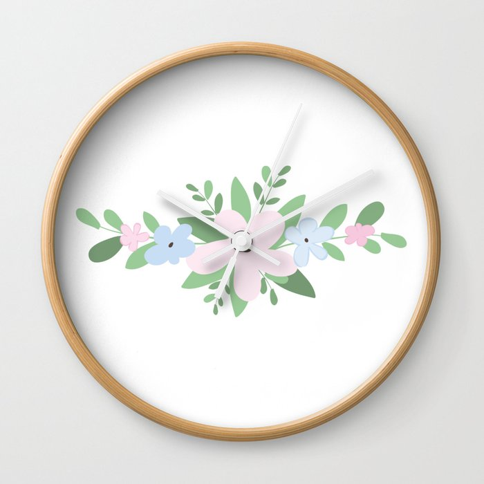 Pink and Blue Flowers Wall Clock