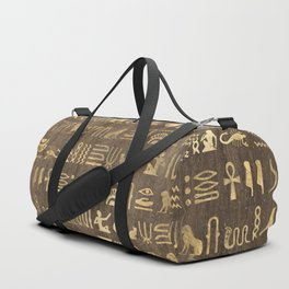 Brown & Gold Ancient Egyptian Hieroglyphic Script Duffle Bag