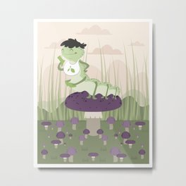 Inchworm eating up a mushroom Metal Print