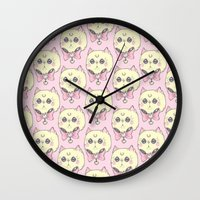 meow Wall Clocks featuring Meow by lOll3