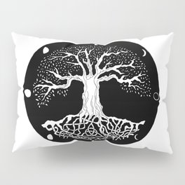 black and white tree of life with moon phases and celtic trinity knot Pillow Sham