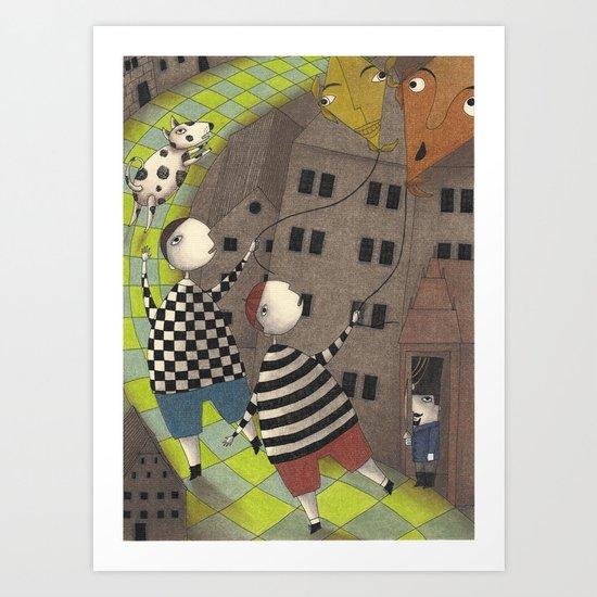 Night flight (3) Art Print